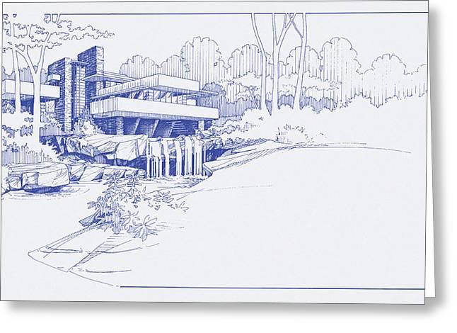 Fallingwater Blueprint Greeting Card