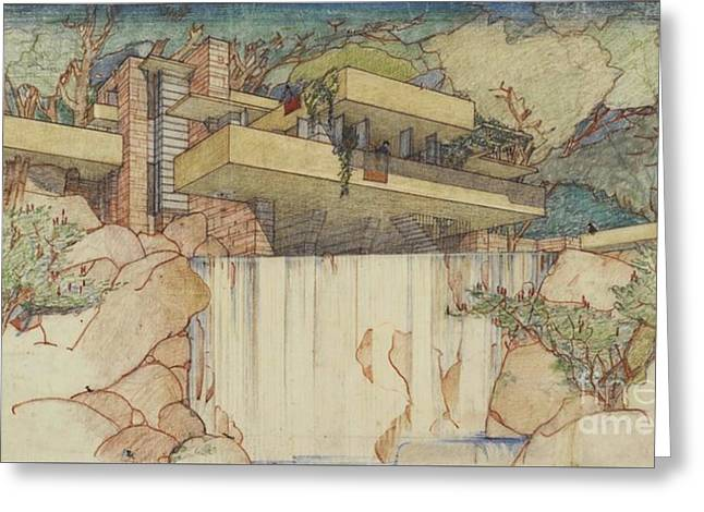 Fallingwater Pen And Ink Greeting Card
