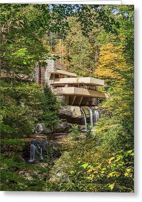 Fallingwater Vertical Greeting Card by Tom Weisbrook