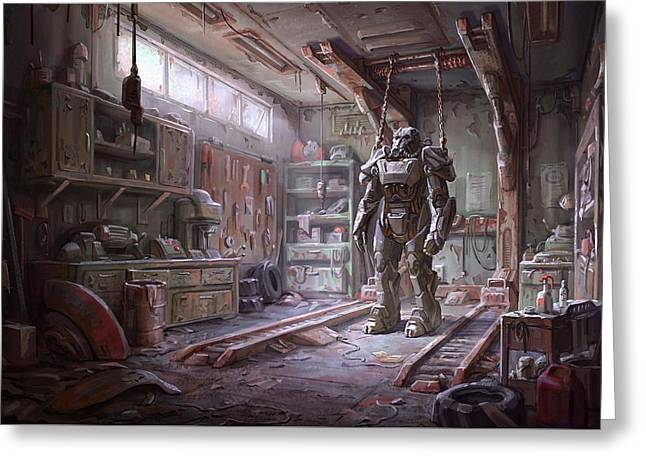 Fallout 4 Armour Greeting Card by Movie Poster Prints