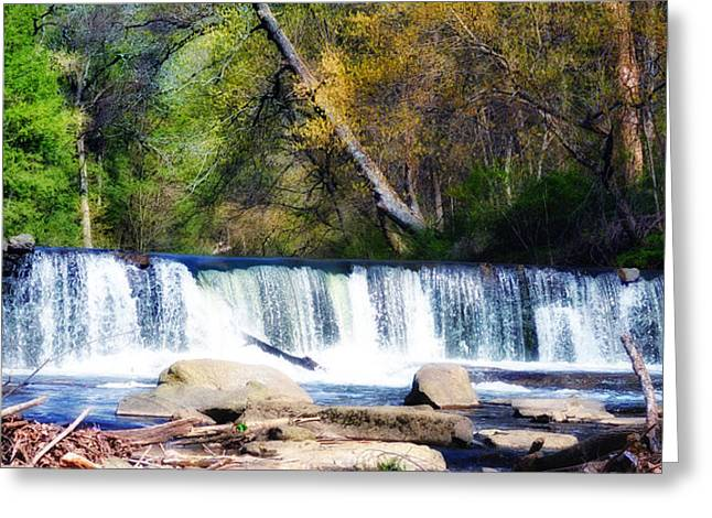 Stream Digital Greeting Cards - Falls Above Valley Green Greeting Card by Bill Cannon