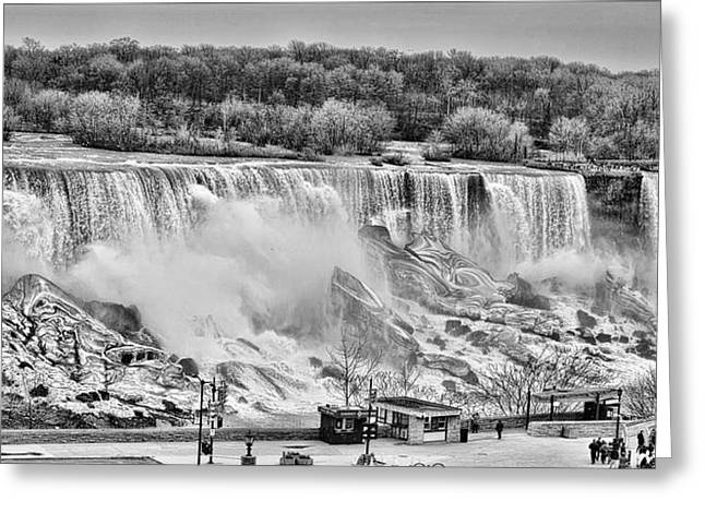Greeting Card featuring the photograph Falls Black And White by Traci Cottingham