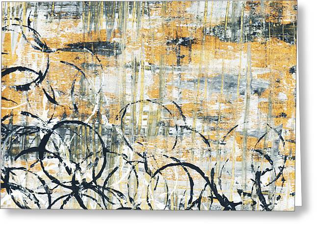 Yellow Abstract Art Greeting Cards - Falls Design 3 Greeting Card by Megan Duncanson