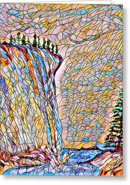 Falls From Clouds Falls - Stained Glass Greeting Card