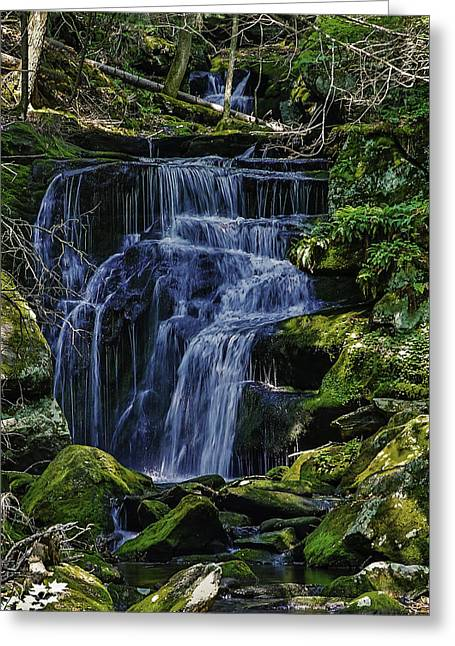 Falls In Vermont Mountain Stream  Greeting Card