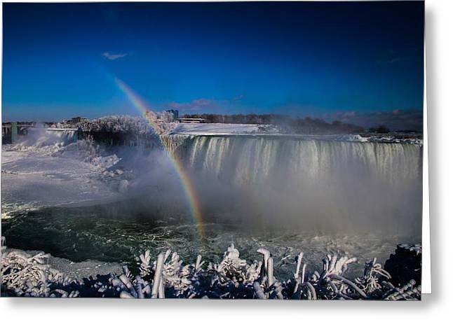 Falls Misty Rainbow  Greeting Card