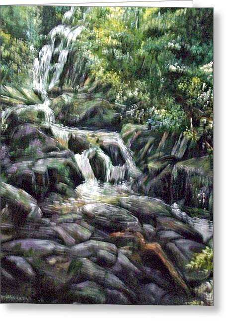 Greeting Card featuring the painting Falls  by Paul Weerasekera