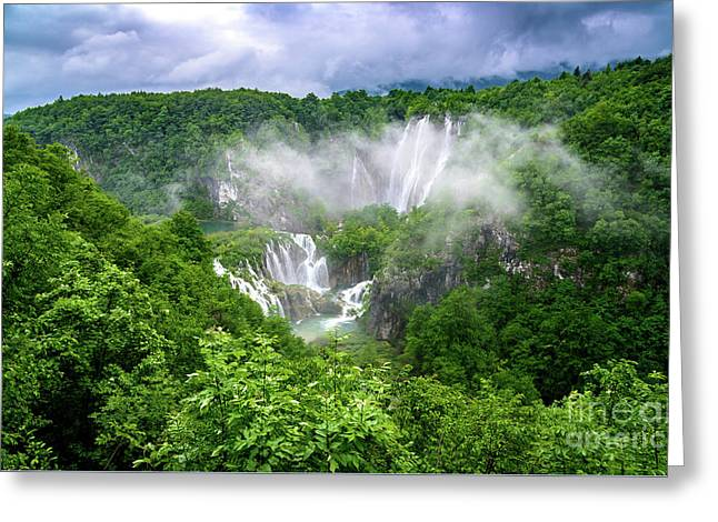 Falls Through The Fog - Plitvice Lakes National Park Croatia Greeting Card
