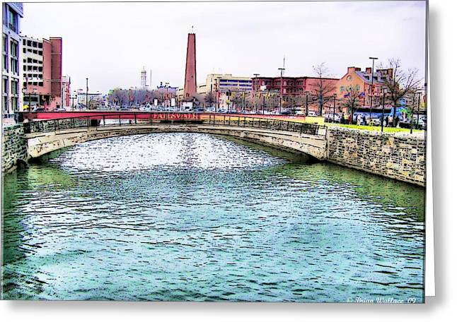 Greeting Card featuring the photograph Fallswalk And Shot Tower by Brian Wallace
