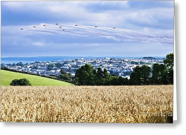 Falmouth Red Arrows Display 2016 Greeting Card by Terri Waters