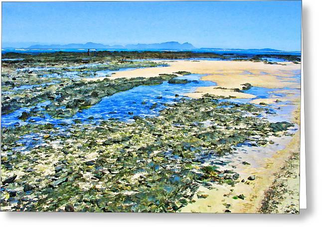 False Bay Low Tide Greeting Card by Jan Hattingh