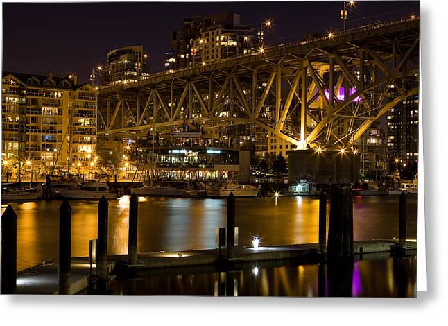 Docked Boats Greeting Cards - False Creek  Greeting Card by Naman Imagery