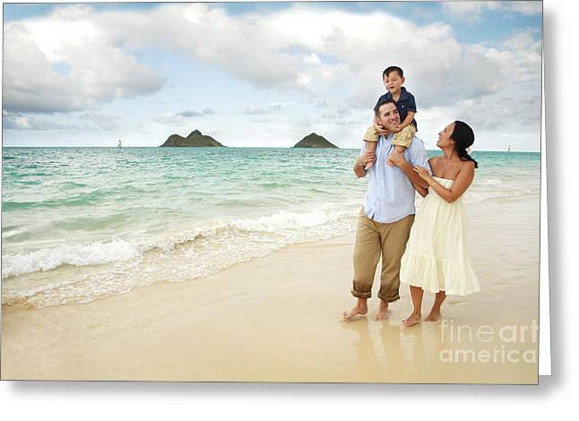 Family At Lanikai I Greeting Card by Brandon Tabiolo - Printscapes