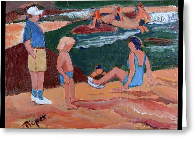 Family At Slide Rock Park Greeting Card by Betty Pieper