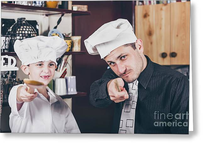 Family  Baking Homemade Food In Kitchen Greeting Card by Jorgo Photography - Wall Art Gallery