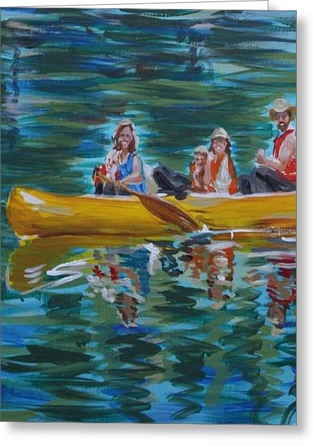 Family Canoe Trip From Spring 1 Greeting Card by Jan Swaren