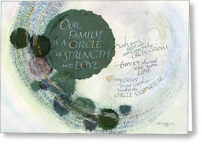 Strength Greeting Cards - Family Circle Greeting Card by Judy Dodds