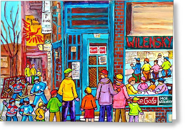 Family Day At Wilensky Lunch Counter Montreal Street Hockey Winter Scene Carole Spandau Greeting Card