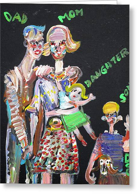 Greeting Card featuring the painting Family Day by Fabrizio Cassetta