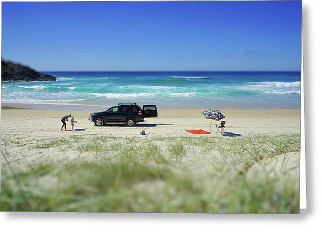 Family Day On Beach With 4wd Car  Greeting Card