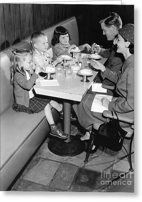 Family Eating Ice Cream At A Diner Greeting Card by H. Armstrong Roberts/ClassicStock