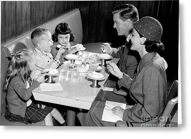 Family Eating Ice Cream Greeting Card by H. Armstrong Roberts/ClassicStock