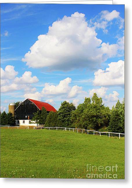 Family Farm Greeting Card by Anthony Djordjevic