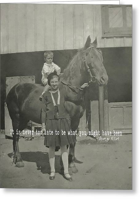 Greeting Card featuring the photograph Family Farm Quote by Dressage Design