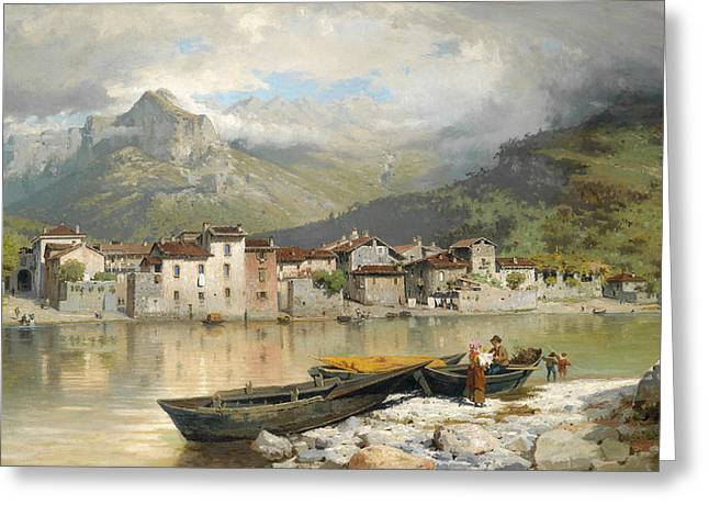 Family Fisherman In Lecco On Lake Como Greeting Card by Ercole Calvi
