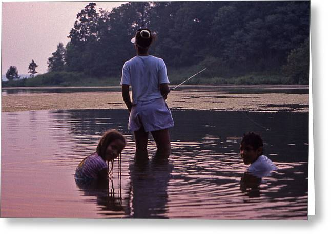 Family Fishing Greeting Card by Randy Muir
