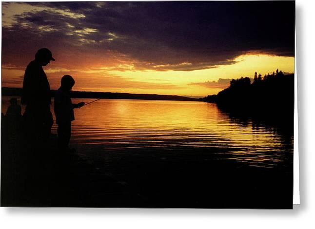 Family Fishing Sunset Greeting Card
