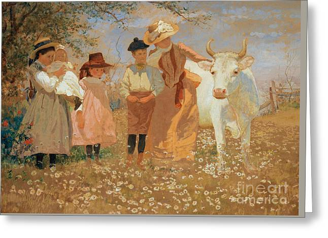 Family Group With Cow Greeting Card by Louis Comfort Tiffany