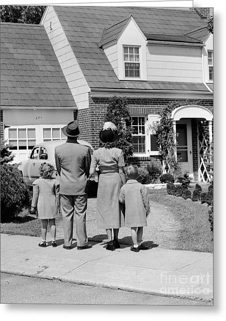 Family Looking At House, C.1940s Greeting Card by H. Armstrong Roberts/ClassicStock