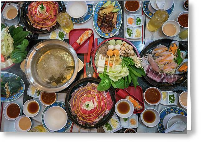 Family Marty With Sukiyaki Seafood And Beef Shabu Greeting Card by Anek Suwannaphoom