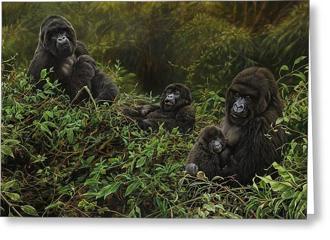 Greeting Card featuring the painting Family Of Gorillas by Alan M Hunt
