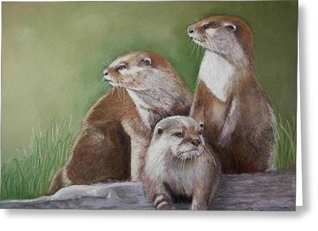Greeting Card featuring the painting Family Of River Otters by Ceci Watson