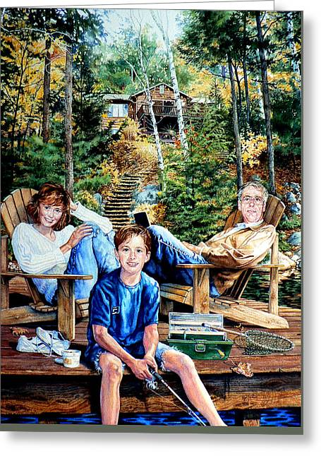 Family On The Dock Greeting Card by Hanne Lore Koehler
