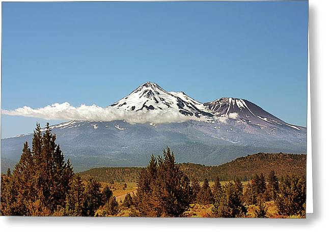 Family Portrait - Mount Shasta And Shastina Northern California Greeting Card by Christine Till