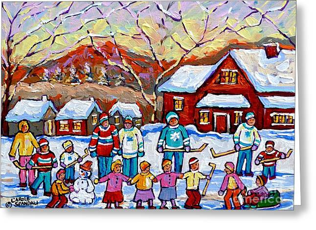 Family Skating Party Paintings Of Children Playing Canadian Country Winter Scene  Art Carole Spandau Greeting Card by Carole Spandau