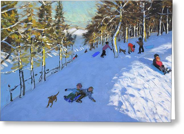 Family Sledging, Youlgreave, Derbyshire Greeting Card
