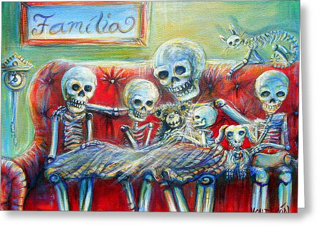 Greeting Card featuring the painting Family Time by Heather Calderon
