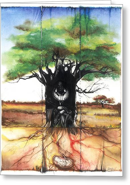 Greeting Card featuring the mixed media Family Tree by Anthony Burks Sr