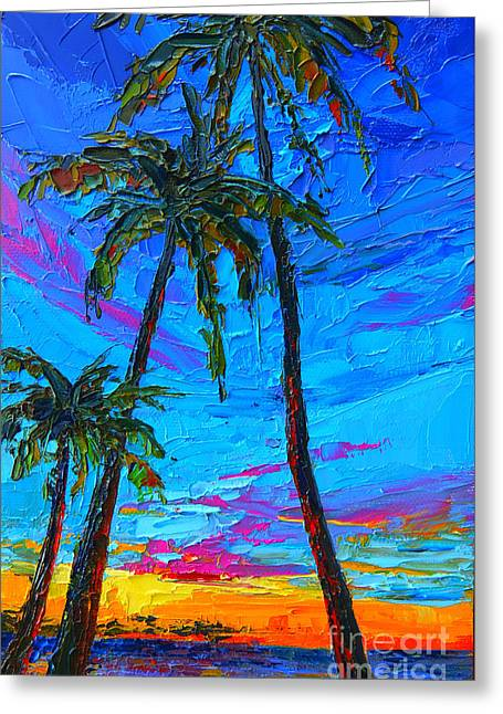 Family Tree - Modern Impressionistic Landscape Palette Knife Oil Painting Greeting Card