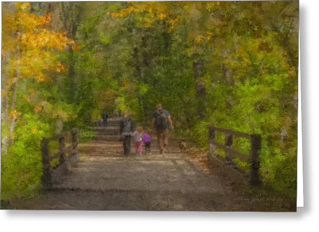 Family Walk At Borderland Greeting Card