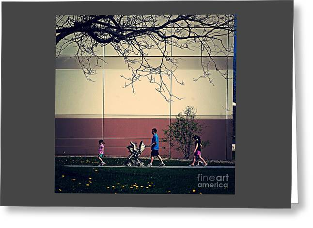 Family Walk To The Park Greeting Card