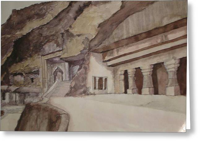 famous Ajantha Caves Greeting Card by Bhalchandra Salunkhe