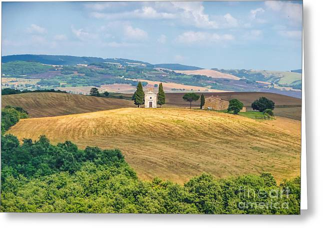 Famous Chapel On Tuscan Hills Greeting Card by JR Photography