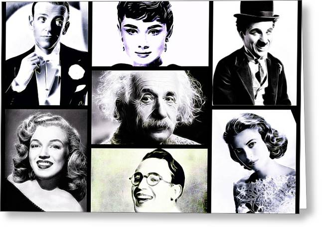 Famous Faces Greeting Card by Esoterica Art Agency
