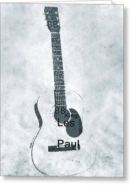 Famous Guitarists Typography Cool Greeting Card