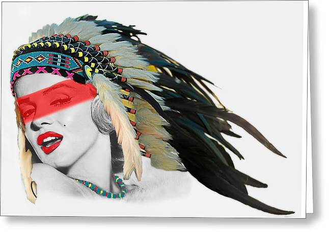 Famous Indian Girl With Red Face Stripe Greeting Card